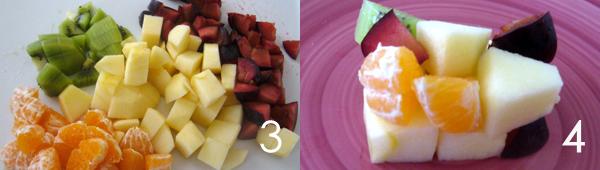 dessert frutta Cubo frutta, composizione di frutta fresca divertente
