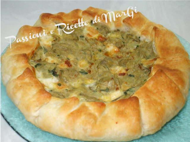 Ricetta torta salata con carciofi e patate filanti for Ricette con carciofi