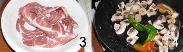 strisce di carne di maiale