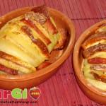 fisarmonica di patate al prosciutto