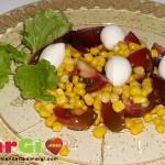 Insalata di mozzarella e pomodori con mais