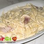 Trofie con speck e gorgonzola