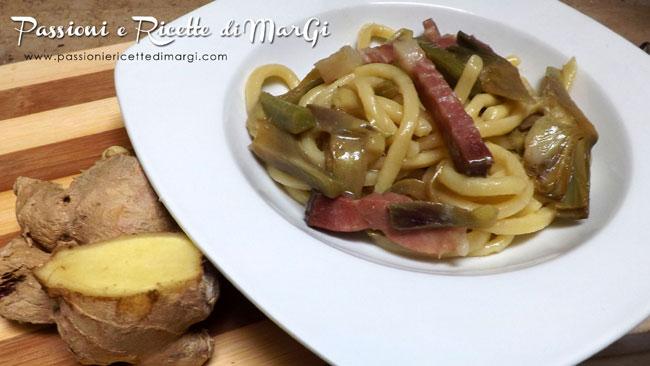 Pasta con zenzero carciofi e speck