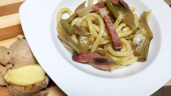 ricetta-Pasta-con-zenzero-carciofi-e-speck