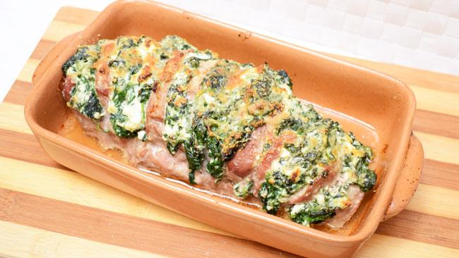 filetto di maiale con spinaci e ricotta